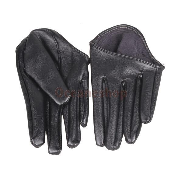 Hot Woman Tight Half Palm Gloves Imitation Leather Five Finger Black C#S8(China (Mainland))