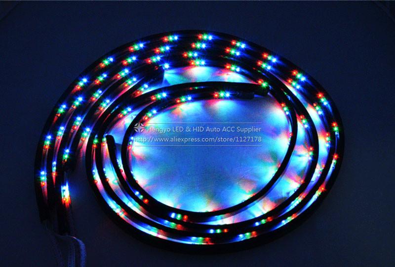 Купить 90*120 СМ Led Окружающего Освещения Полосы Света 7 Цвет RGB LED газа Вспышка Света Под Автомобиль Светящиеся Наружные Системы Неоновые Лампы комплект