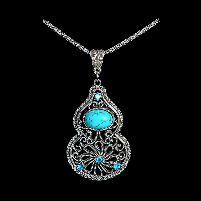 Hot Bohemia stylish guard design Turquoise Stone Sweater Necklace Womens Pendant Gift(China (Mainland))