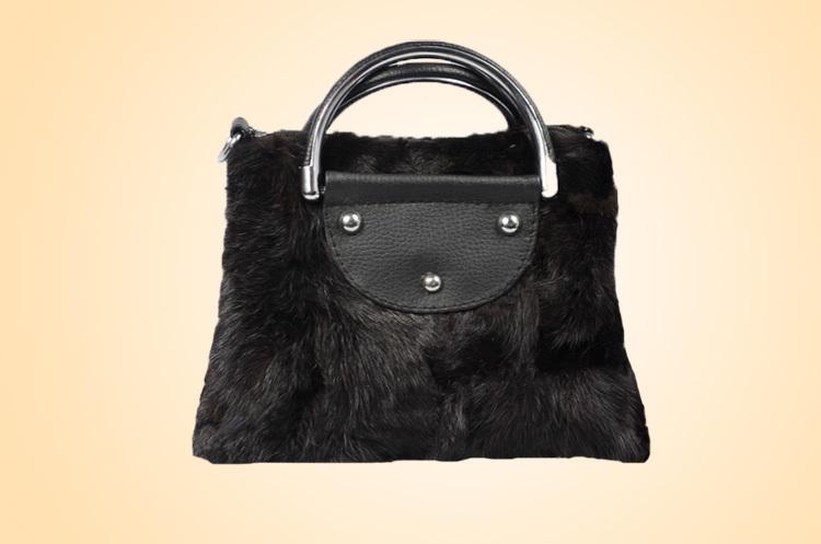 Black mink fur handbag , mink fur party handbag , fashion handbag 100% natural fur free shipping(China (Mainland))