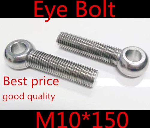 5pcs m10*150  M10 x 150 stainless steel  eye bolt screw,eye nuts and bolts fasterner hardware,stud articulated anchor bolt<br><br>Aliexpress
