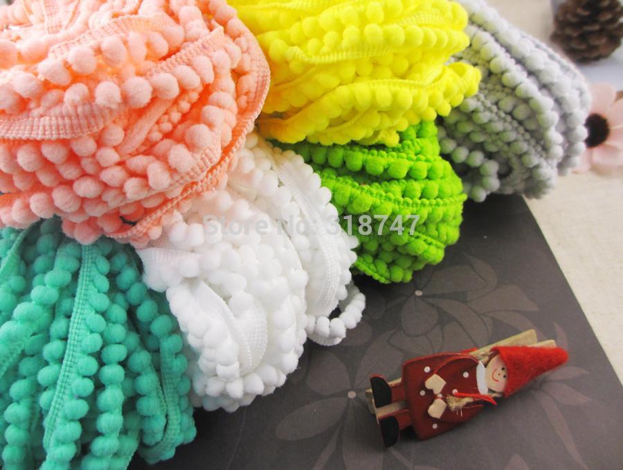 2*2yards/lot 10mm Width Pom Pom Trim Ball Fringe Ribbon DIY Sewing Accessory Lace 17011091(10D4y)(China (Mainland))