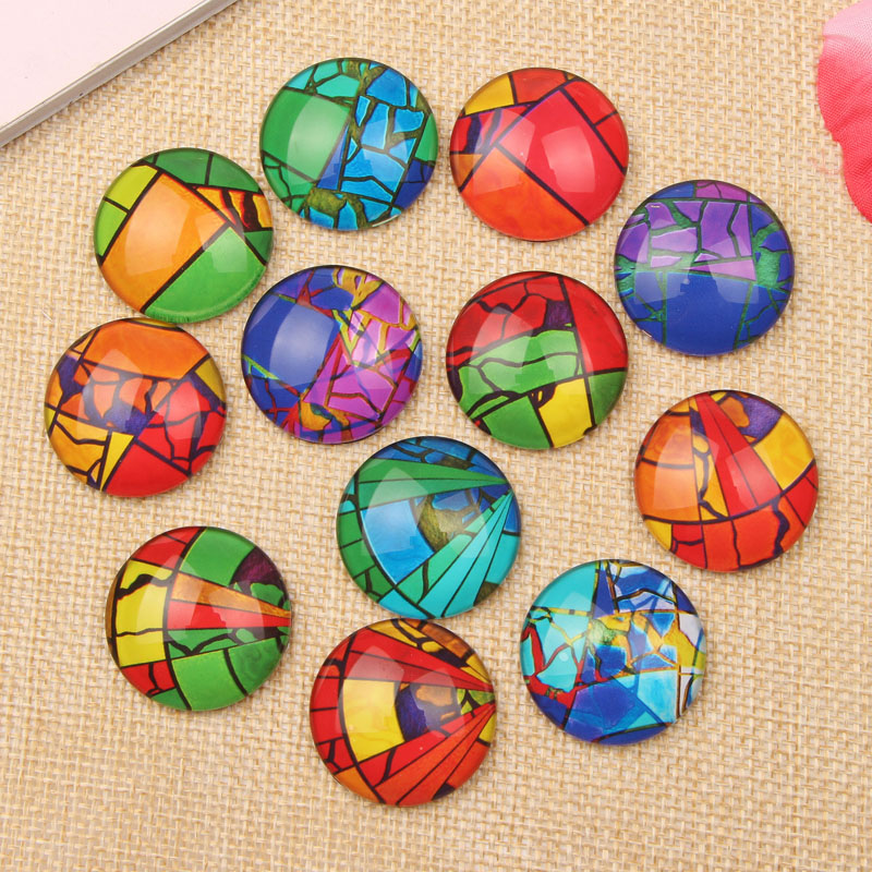 50pcs Mix Abstract Circles Photo Glass Cabochon 12mm Flatback Round Dome Jewelry Earrings Cameo(China (Mainland))