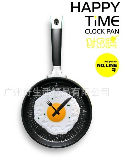 Free Shipping,Retail wholesale,creative wall clock fried eggs pan shaped clock different colors to choose