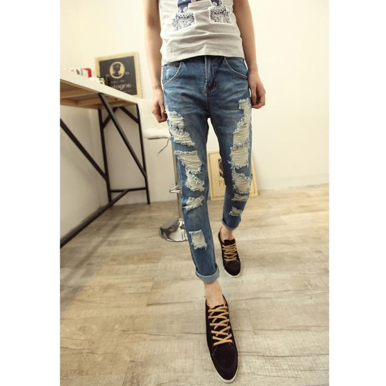 Men's Ripped Destroyed Hole Jeans Modern Male Blue Distressed Zipper Fly Mid-rise Cotton Denim Skinny Pencil Pants - Leopold wang's store