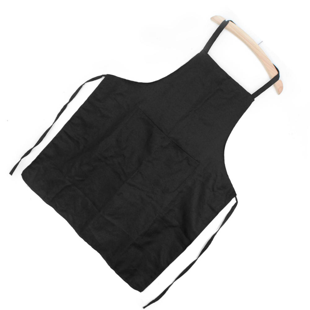 Men Women Waiter Aprons With Pockets for Restaurant Kitchen Cooking Shop Art Work Baker Chef Black Polyester Aprons(China (Mainland))