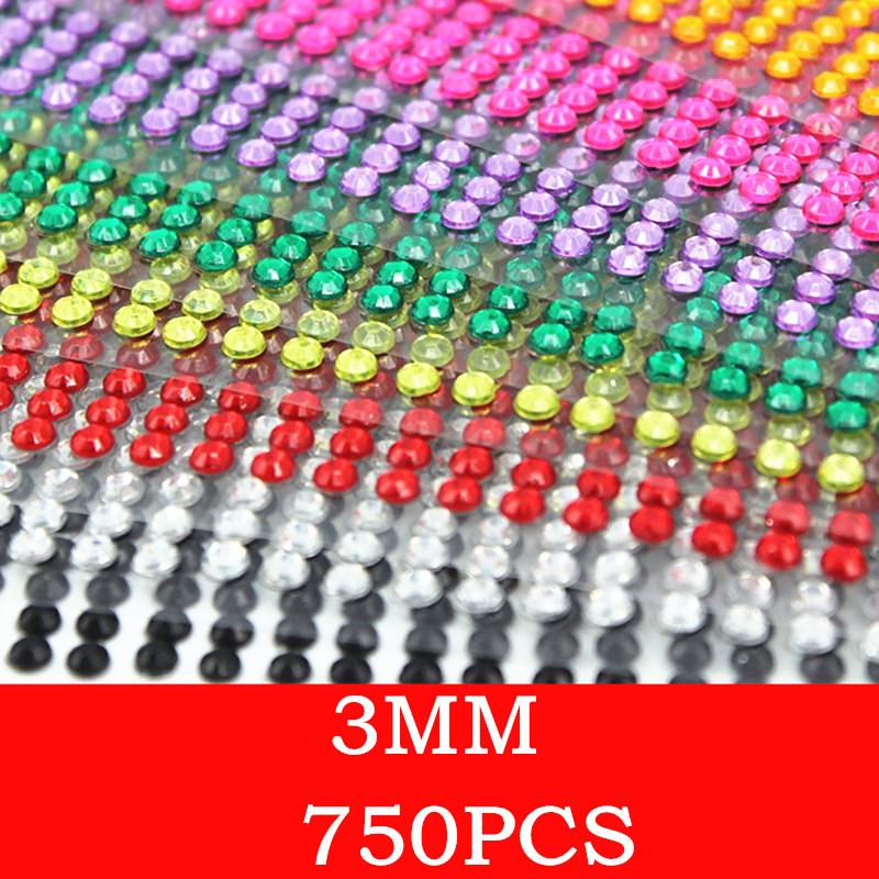 Car sticker 750 pcs/set 3mm Mobile Phone Diy decal crystal Diamond Self-adhesive Rhinestones dekorasi Scrapbooking Stickers(China (Mainland))