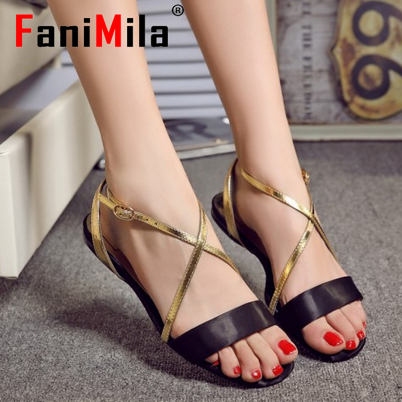 women real genuine leather bohemia cross strap party flat sandals sexy fashion brand heeled ladies shoes size 33-43 R6827<br><br>Aliexpress
