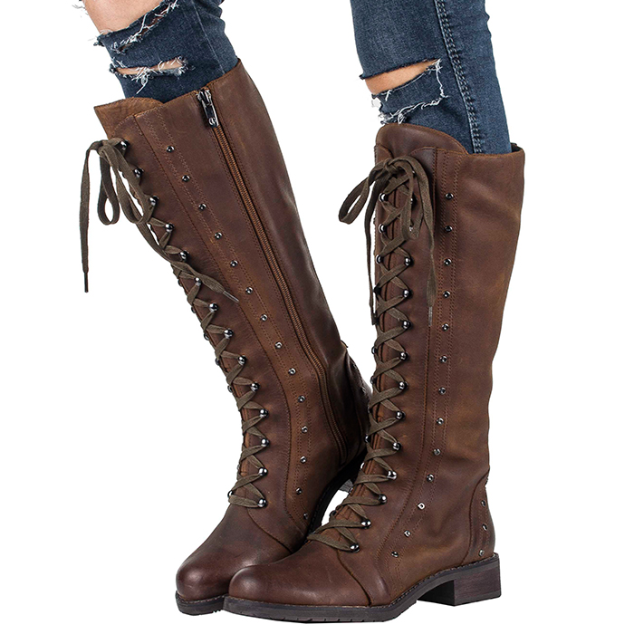New Europe High Quality leather Dark Knight boots with thick rivets and  low tube high boots  shoes women Free shipping<br><br>Aliexpress