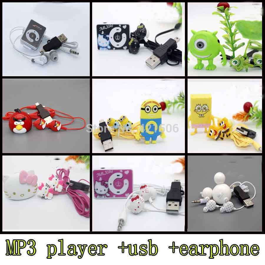 2016 hello Kitty despicable me mickey spongebob cartoon mp3 mini player with earphone and cable boys girls gift(China (Mainland))