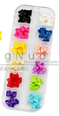 12 Colors Nail art decoration bowknot is resin with drill bow coloured glaze flower nail art china(China (Mainland))