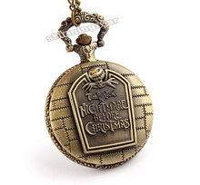Hot Christmas Nightmare Before Christmas vintage antique pendant necklace quartz pocket watch free shipping p49