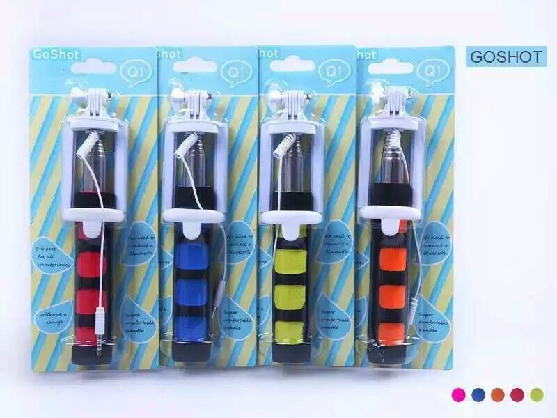 50pcs/lot DHL free shipping Nueva llegada Q1 monopie con 3.5 mm cable remoto selfie stick para telefonos moviles(China (Mainland))