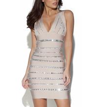 W357 v-neck sexy crystal bandage dress(China (Mainland))