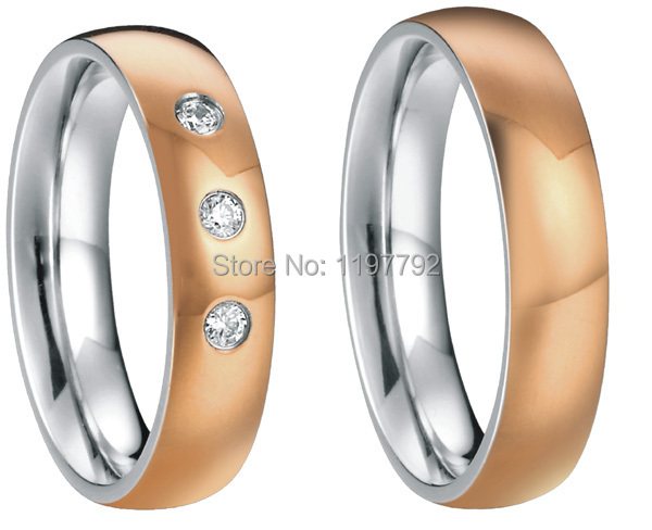 18k rose gold plating heath titanium fashion  rings wedding jewelry sets  for  couples<br><br>Aliexpress