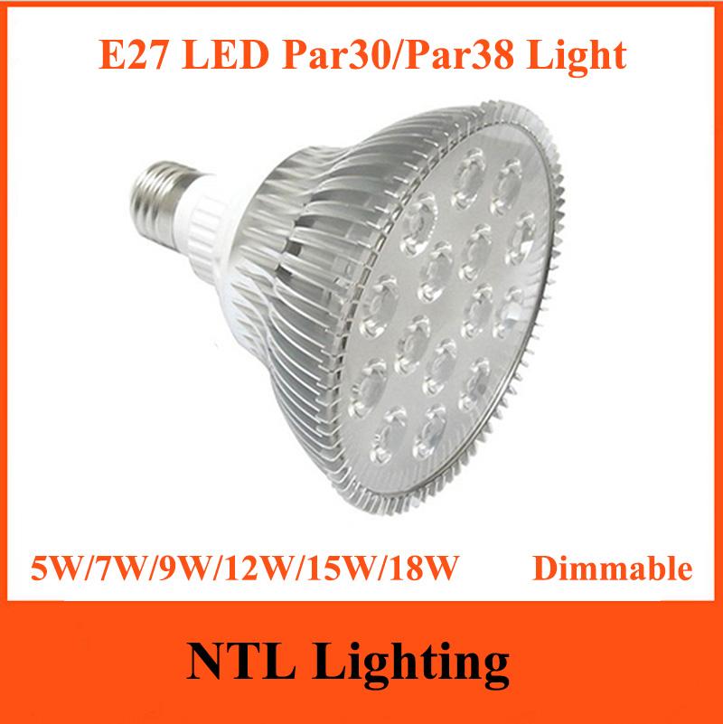 New 5W 7W 9W 12W 15W 18W E27 Dimmable Par30 Par38 led lamp Epistar Highpower light Aluminum Case lights 110V 220V 230V Freeship(China (Mainland))