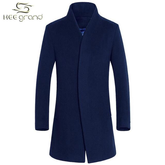 Мужская шерстяное пальто горячая распродажа теплый мода осень зима тонкий стенд воротник ...