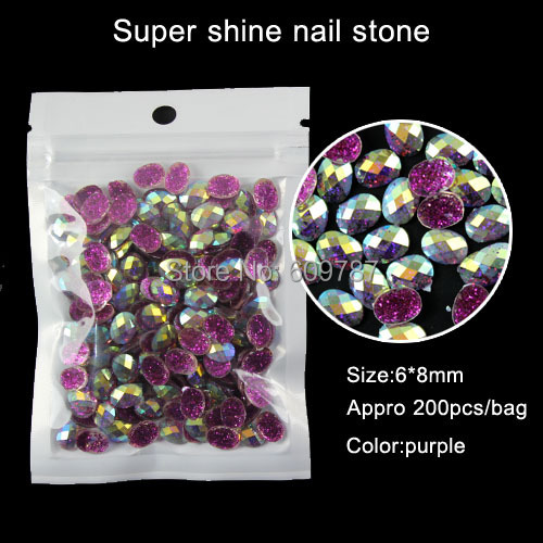 purple 200pcs Oval Rhinestone Jewellry Beads Gem Stones