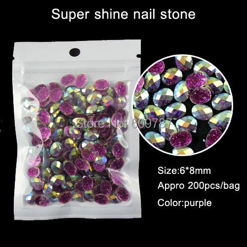 purple 200pcs Oval Rhinestone nail art Jewellry Beads Gem Stones