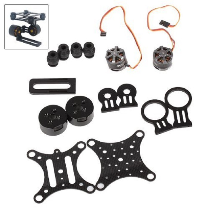 2 Axis Carbon Brushless Camera Gimbal Mount 2*LD2208 Motor+Controller For FPV Gopro3 BLACK<br><br>Aliexpress