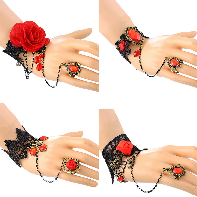 Women Retro Gothic Jewelry Black Lace Bracelet Adjustable Red Finger 1Pc(China (Mainland))