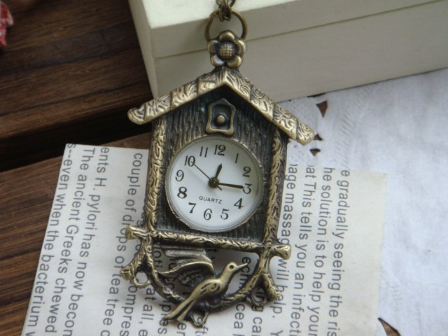 HB0194 D2.5cm Hot sale Antique Pocket watch with chain bird house watch free shipping mix order<br><br>Aliexpress