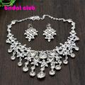 Luxurious Tassel Waterdrop Crystal Rhinestones Silver Plated Bridal Jewelry Sets Wedding Necklace Earring Set Accessories