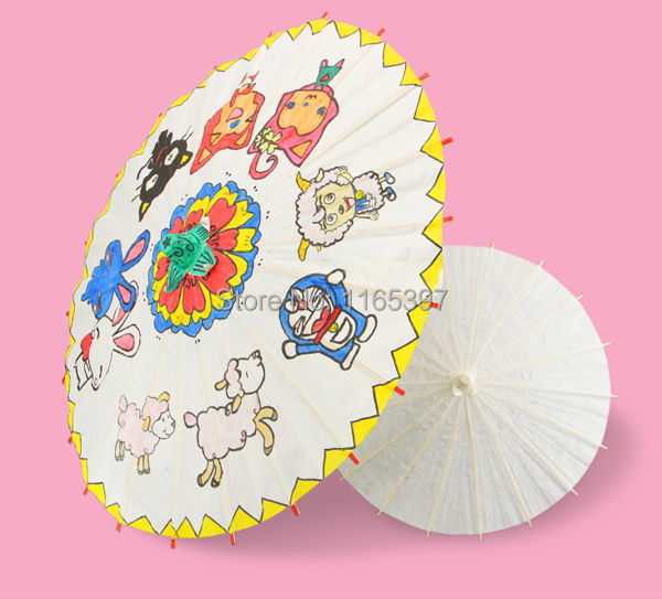 Blank unpainted Chinese traditional craft oil paper umbrella party kids DIY kits favor school kindergarten chiid paint coloring(China (Mainland))