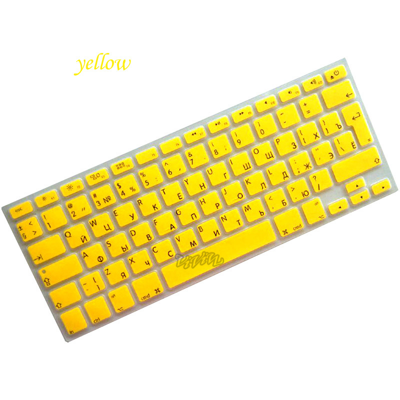 1Pcs Soft Silicon 12 colors Cute Russian Keyboard Stickers For EU type Macbook Keyboard 13 15 17 inch keybord cover for Macbook(China (Mainland))