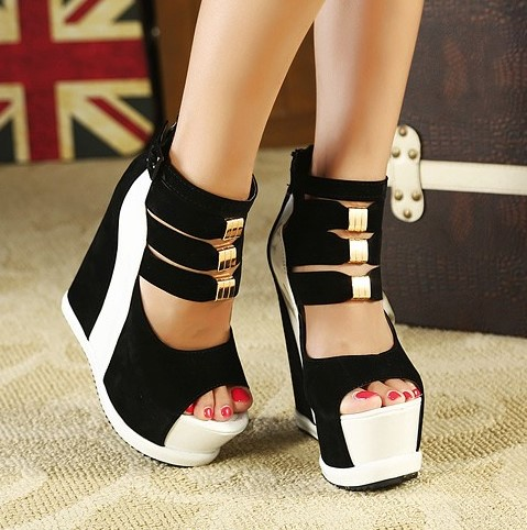 2016 Women Sandals High Heels Open Toe Shoes Sandals Knee High Heel Wedge Sandals Women Platform Wedges Slippers Free Shipping