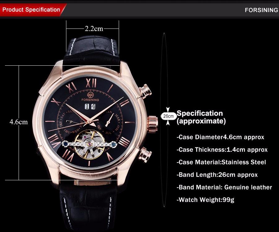 2016 FORSINING мода повседневная марка часы мужчины розового золота точка черный циферблат часы автоматические самостоятельно ветер часы Роман цифры дизайн