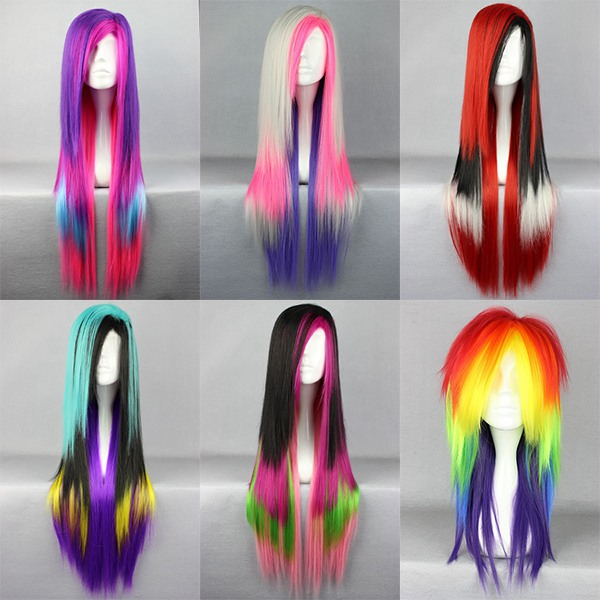 Cosplay Wig Rainbow Color Straight Synthetic Hair Wig  Multi color lolita wig