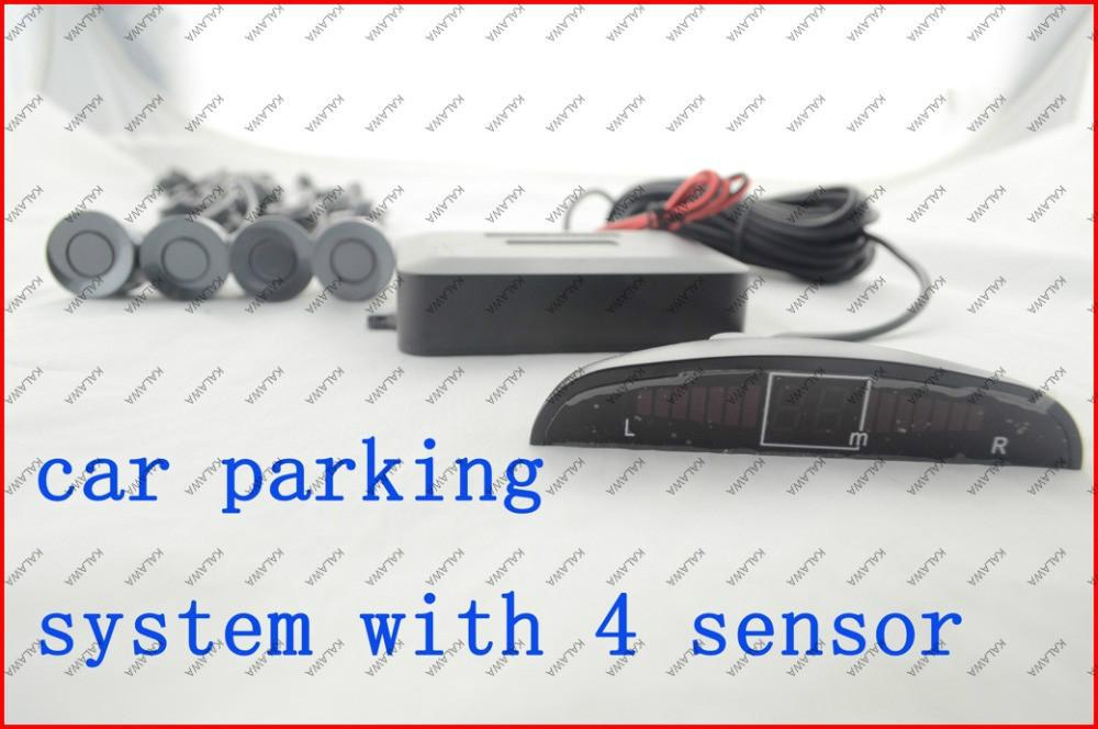Car Parking Sensor System Car Reverse Radar Kit 4 Sensors System silver color 12V LED Display Indicator T34 Freeshipping JJJ(China (Mainland))