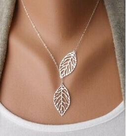 YANA Jewelry 2015 New Gold And Sliver Two Leaf Pendants Necklace Chain multi layer statement necklaces Woman Gift SALE 50(China (Mainland))