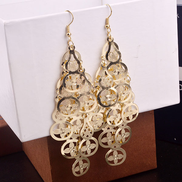 plating fashion woman earrings peace sign gold silver tassel earrings iron jewelry scales 12 pairs / bag D-ES-152(China (Mainland))