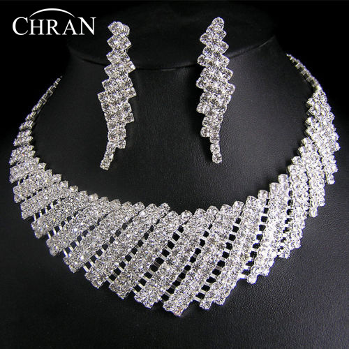 Free Shipping Clear Crystal Silver Plated Necklace Earrings Jewelry Promotion Fashion Rhinestone Bridal Wedding Jewelry Sets