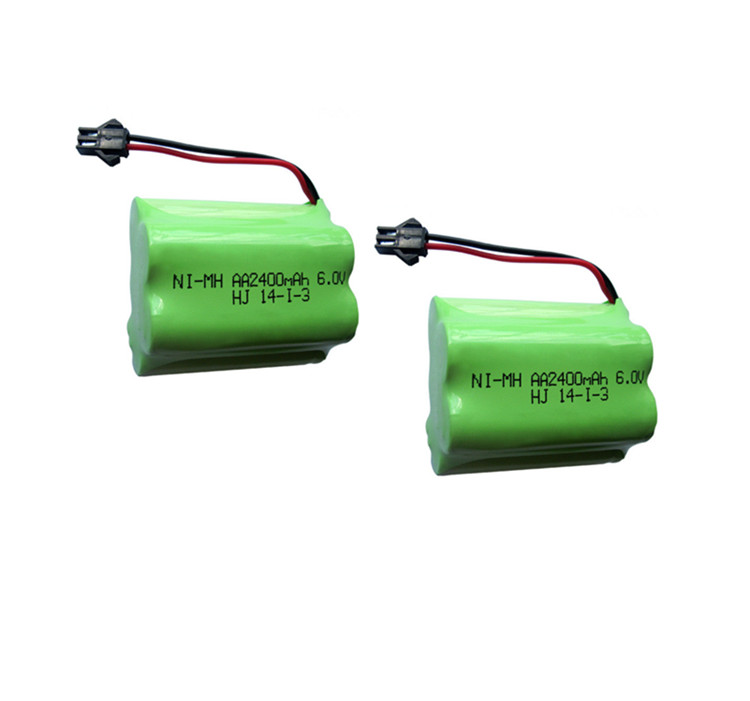 2pack 6v battery 2400mah ni-mh bateria 6v nimh battery pack 6v size aa rechargeable ni mh for lighting rc car toy electric tools(China (Mainland))