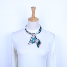 European New Design Printed Silk Scarf Necklace Short Chokerl Necklace Jewelry For Sweater Chains Necklace For Women&Girl(China (Mainland))
