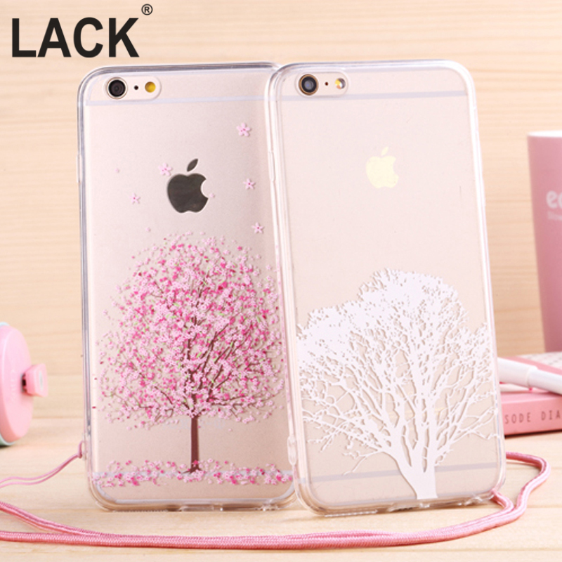 Newest fashion Japan sweet cherry blossom Phone Case soft TPU for Apple iphone 6 Case 4.7'' Transparent back cover with lanyard(China (Mainland))