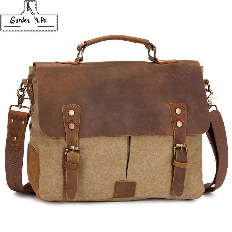 Vintage Crossbody Bag Military Canvas + Genuine Leather shoulder bags Men messenger bag men leather Handbag tote Briefcase(China (Mainland))