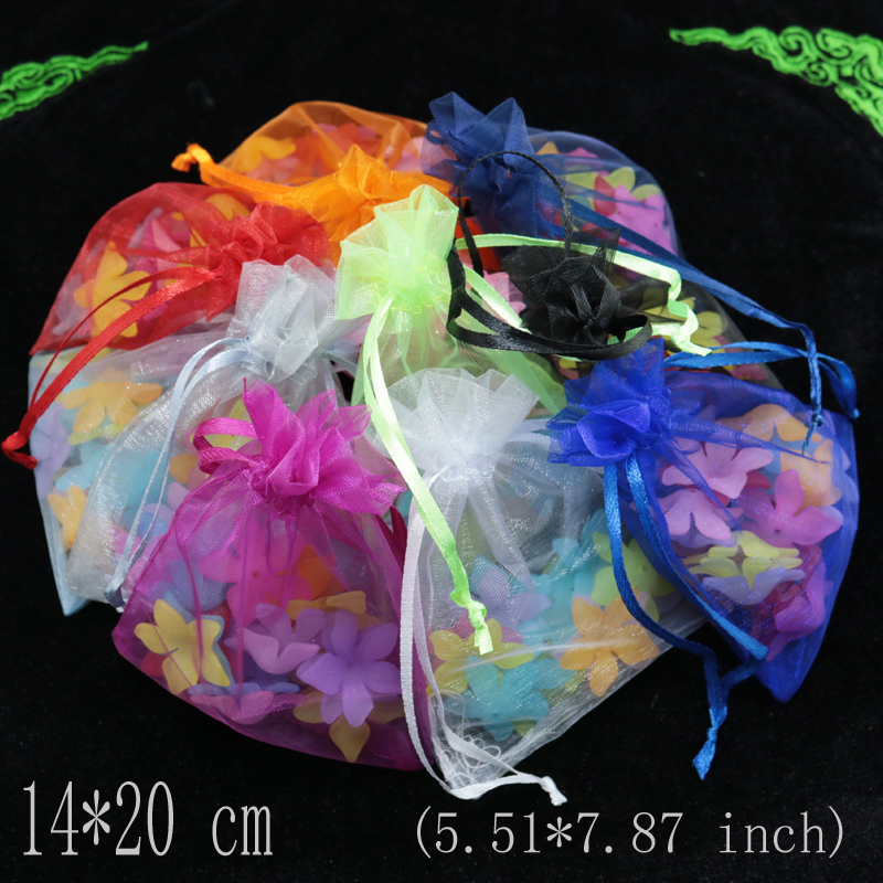 14*20cm (5.51*7.87 inch) 100pcs Drawable White Organza Bags Favor Wedding Christmas Gift Bag Jewelry Packaging Pouches Wholesale(China (Mainland))