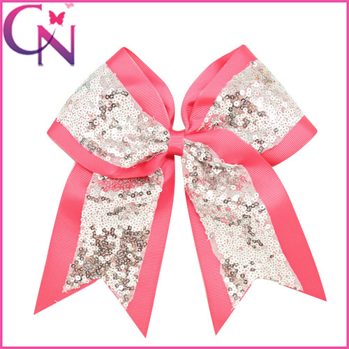 "8"" Big Sequin Cheer Bows With Clips Hand Made Bling Girl's Cheerleading Hair Bow Hair Accessories For Long Hair Free Shipping(China (Mainland))"
