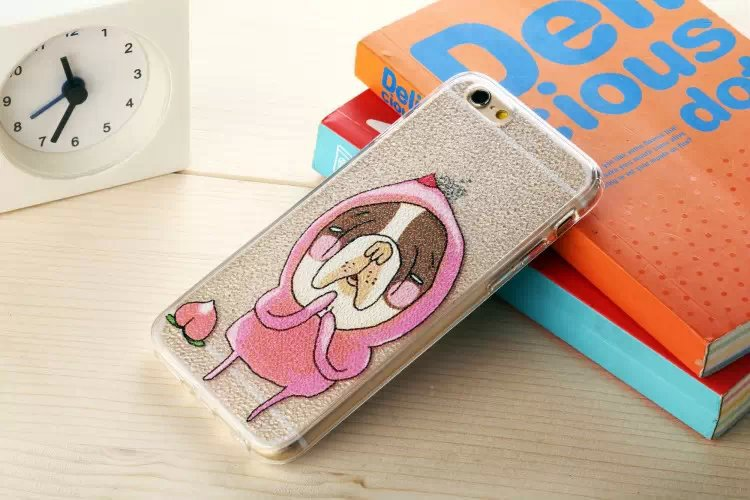 Trendy Cartoon Wholesale Fart Peach Dog Phones Cases Soft Cover Case For Iphone 6 4.7 Plus 5S 5G(China (Mainland))