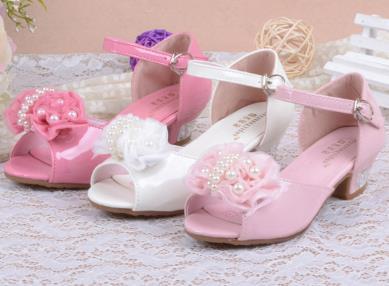 Girls high heels shoes charming rose flower princess pearl leather elsa sandals summer for kids for girls melissa infantil 16b<br><br>Aliexpress