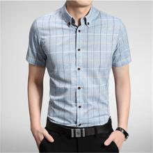 2016 Summer 100% Cotton Mens Short Sleeve Business Shirts Slim Plaid Dress Shirts Hommes Fashion Brand Camisa Masculina WS983