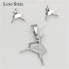 Fashion New Product Dancing Girl Necklaces And Earrings Jewelry Sets,316 Stainless Steel,Free Shipping(China (Mainland))