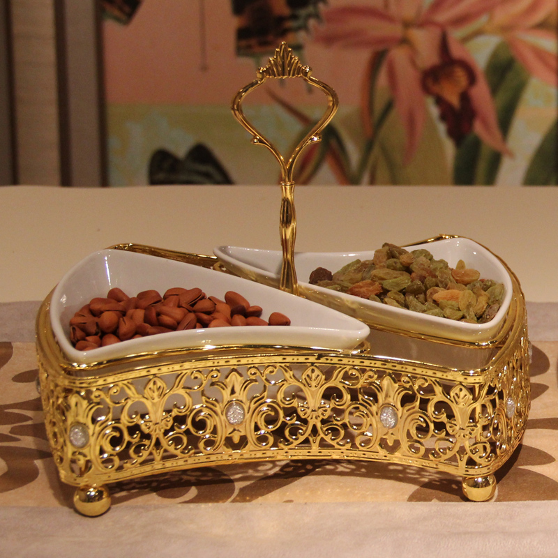 Free shipping silver gold plated metal cake pan fruit for Decoration stand