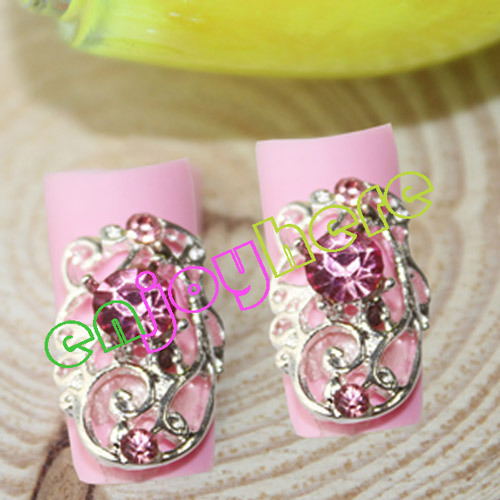 2015 Free Shipping 10pcs/pack Silver Alloy Hollow Out Decorations For Nails, Glitter Pink Rhinestones Nail Design(China (Mainland))