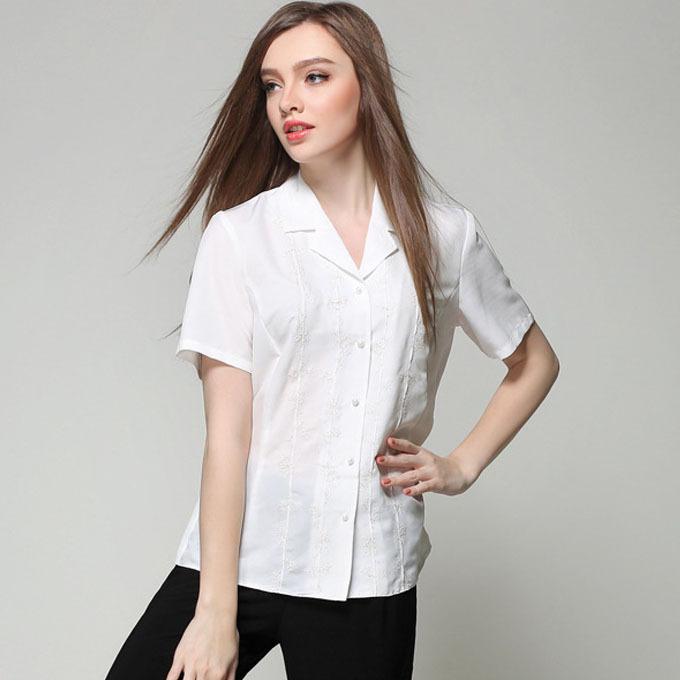 Short Sleeve White Blouse Plus Size