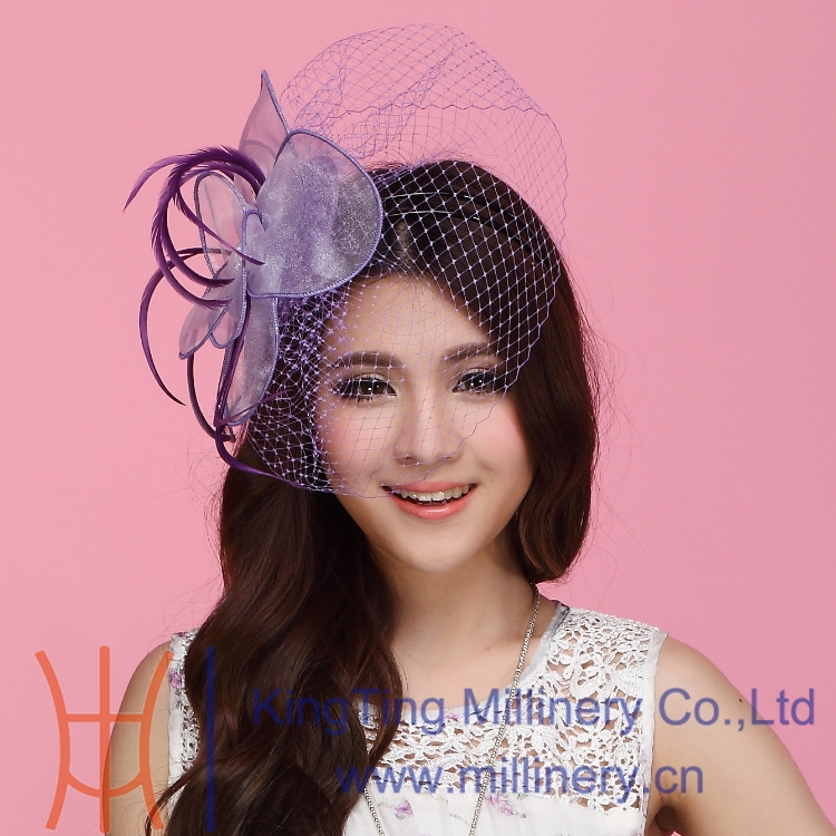 Free Shipping Women Fascinator Hats Purple Hair Accessory Wedding Hair Accessories Hairdress Feather Flower Mesh Veiling Clip(China (Mainland))